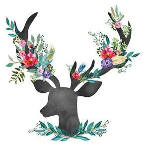 "9"" Happy & Bright  Original Floral Deer / Less Space"