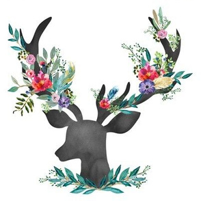 "8"" Happy & Bright  Original Floral Deer"