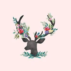 "9"" Happy & Bright Original Floral Deer / Pink"