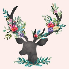 "8"" Happy & Bright  Original Floral Deer / Less Space"