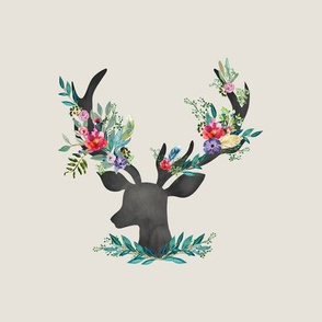 "9"" Happy & Bright  Original Floral Deer / Taupe"