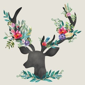 "8"" Happy & Bright  Original Floral Deer - Taupe"