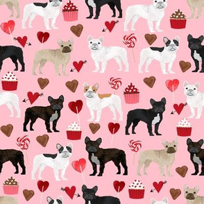 frenchies valentines fabric pink french bulldog valentines day love design