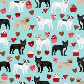 frenchies valentines fabric blue tint french bulldog valentines day love design