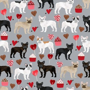 frenchies valentines fabric grey french bulldog valentines day love design
