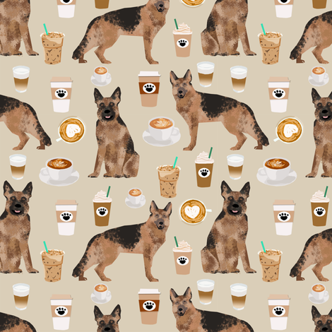 coffee and dogs fabric german shepherd coffees design cute dog fabric fabric by petfriendly on Spoonflower - custom fabric