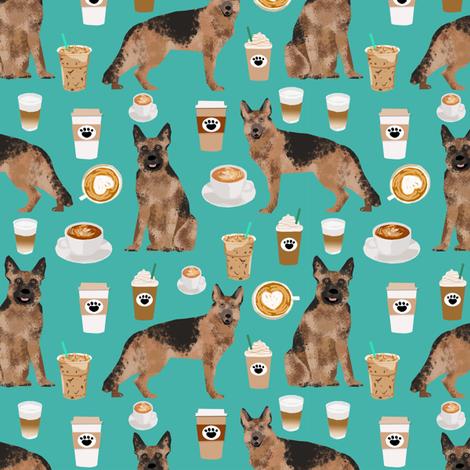 coffee and dogs fabric german shepherd coffees design cute dog fabric fabric by petfriendly on Spoonflower - custom fabric