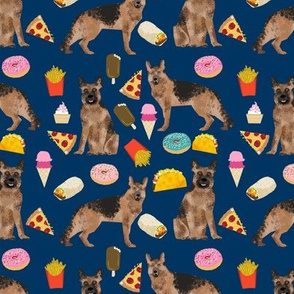 german shepherd junk food fabric bright fries food pizza tacos