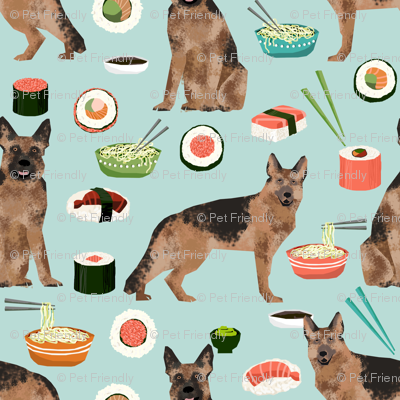 german shepherd noodles and sushi design cute dogs fabric food pattern