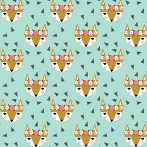 fox flowers crown - 1 inch fox head cute fox head fox spring girly print