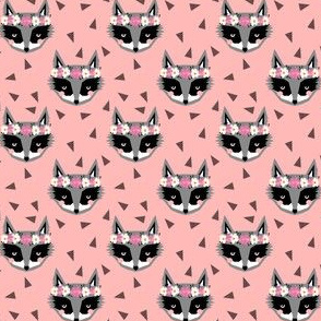 raccoon flower crown - pink floral cute girls spring flowers raccoons fabric