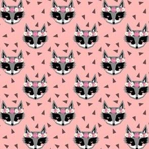 raccoon flower crown - pink floral cute girls spring flowers raccoons fabric