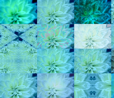 Snowcatcher Teal Dahlia fabric by snowcatcher on Spoonflower - custom fabric