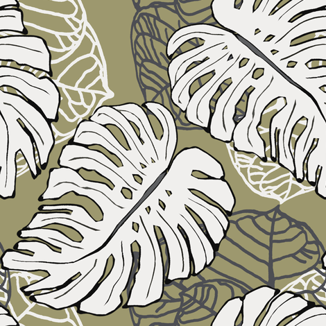 Tropical Khaki fabric by lulabelle on Spoonflower - custom fabric