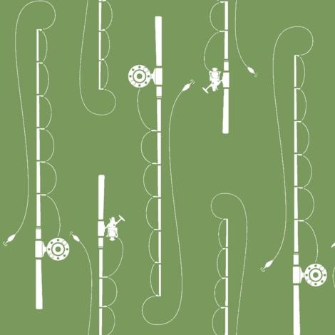Fishing poles on Evergreen fabric by buckwoodsdesignco on Spoonflower - custom fabric
