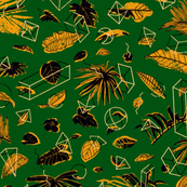 Botanical Geometry: vintage [green+black]