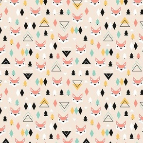 Geometric fox and pine tree illustration pattern XS