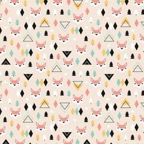 Geometric fox and pine tree illustration pattern XS
