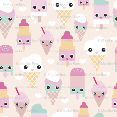 Colorful sweet summer ice cream popsicle sugar pastel kawaii illustration XS