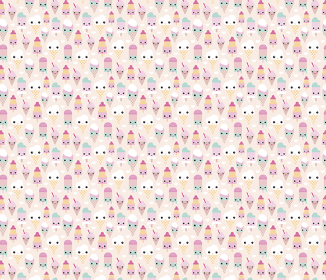 Colorful sweet summer ice cream popsicle sugar pastel kawaii illustration XS fabric by littlesmilemakers on Spoonflower - custom fabric