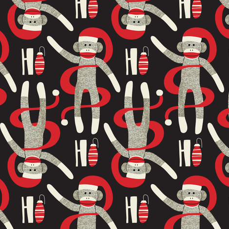 Sock Monkey Santa - Retro Christmas Black fabric by heatherdutton on Spoonflower - custom fabric