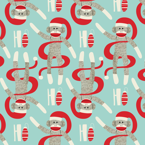 Sock Monkey Santa - Retro Christmas Aqua fabric by heatherdutton on Spoonflower - custom fabric