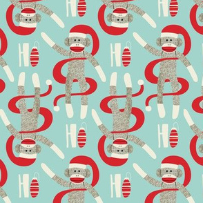 Sock Monkey Santa - Retro Christmas Aqua