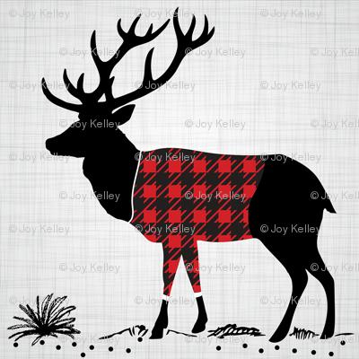 """8"""" Quilt block - Deer with buffalo plaid shirt"""