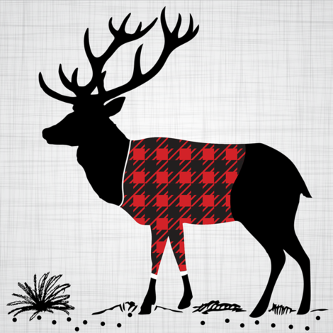 "8"" Quilt block - Deer with buffalo plaid shirt fabric by howjoyful on Spoonflower - custom fabric"