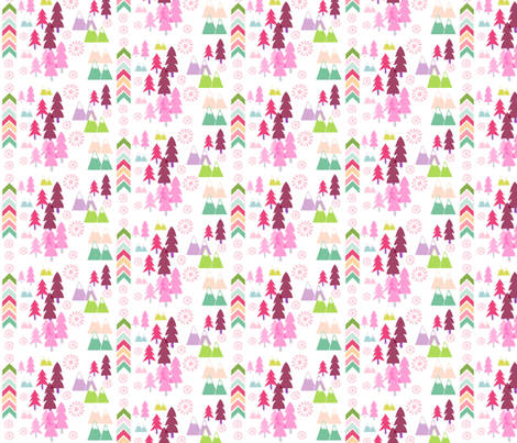 Aztec Forest-  SMALL pink fabric by drapestudio on Spoonflower - custom fabric