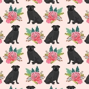 black pug florals black pug flowers design cute dogs design best pug dog fabric