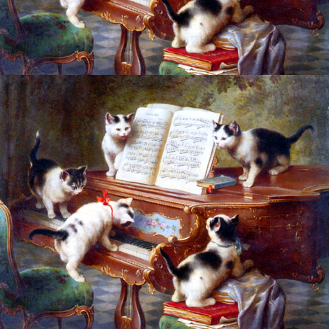 cats kittens grand pianos music scores sheet notes books playing musical vintage retro fabric by raveneve on Spoonflower - custom fabric