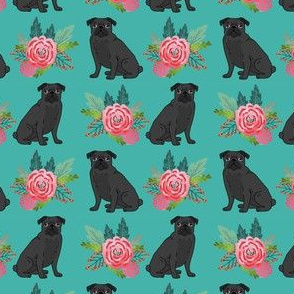 black pug floral fabric cute black pug design fabric best florals fabric