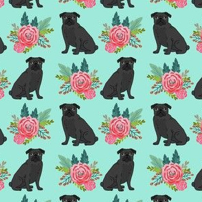 black pug floral fabric aqua mint pug design best pugs fabric