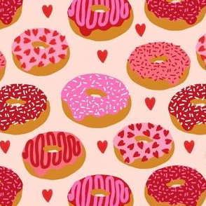 donuts valentines day love design cute valentines love fabric donuts food hearts
