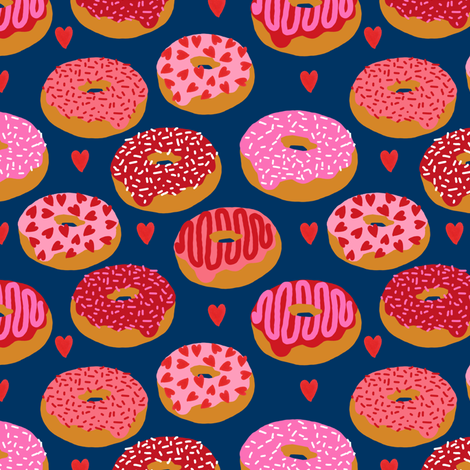 donuts valentines day love design cute valentines love fabric donuts food hearts fabric by charlottewinter on Spoonflower - custom fabric