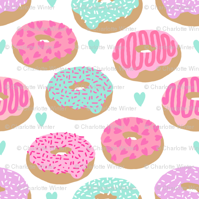 donuts valentines day love design cute valentines love fabric donuts food hearts pastel pastels fabric