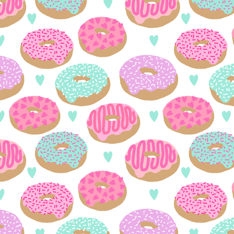 donuts valentines day love design cute valentines love fabric donuts food hearts pastel pastels fabric fabric by charlottewinter on Spoonflower - custom fabric
