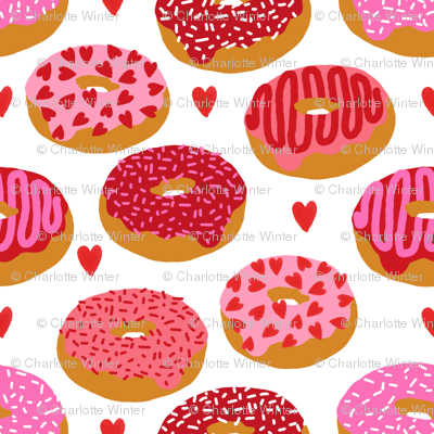 donuts valentines day love design cute valentines love fabric donuts food hearts red and pink valentines fabric
