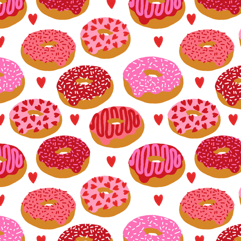 Donuts Valentines Day Love Design Cute Valentines Love Fabric Donuts