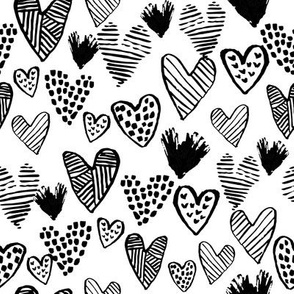 black and white hearts fabric valentines love design cute valentines day love hearts