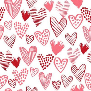 red hearts fabric valentines love design cute valentines day love hearts