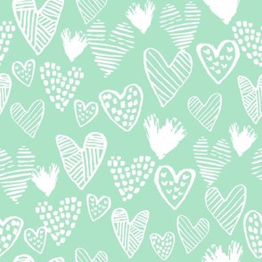 mint hearts fabric valentines love design cute valentines day love hearts