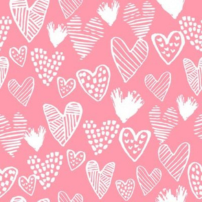 pink hearts fabric valentines love design cute valentines day love hearts