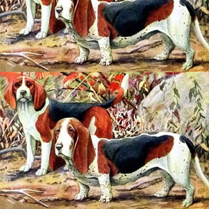 dogs basset hounds beagles forests trees leaves vintage retro whimsical