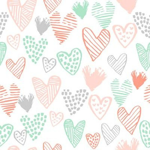 coral and mint hearts fabric valentines love design cute valentines day love hearts