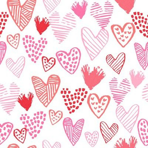 pink and red hearts fabric valentines love design cute valentines day love hearts
