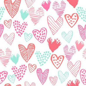 pink and mint hearts fabric valentines love design cute valentines day love hearts