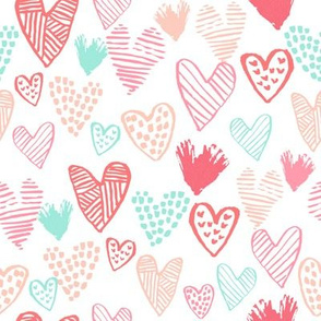 blush pink and mint hearts fabric valentines love design cute valentines day love hearts