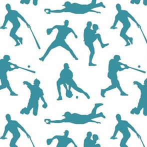 Baseball Players on Teal // Small
